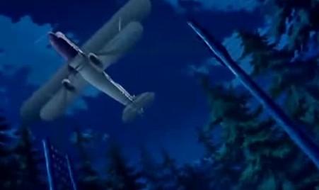 アリソンとリリア2話 飛行機電柱に引っ掛かる