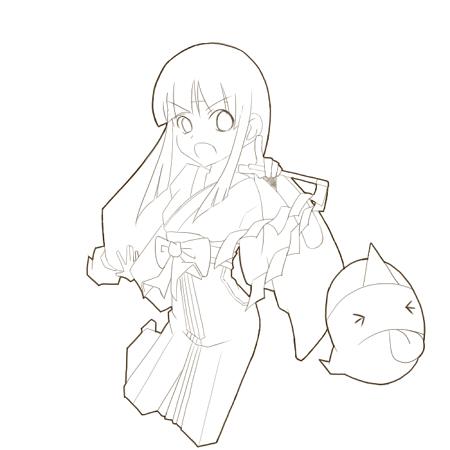 巫女さん(線画)