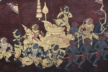 ワット・プラケオの修復された壁画