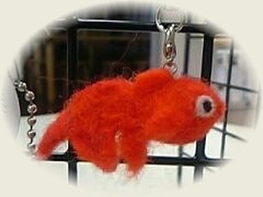 羊毛フェルト☆赤い金魚のストラップ