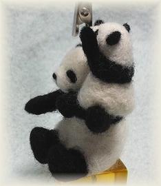 親子パンダのカードクリップ
