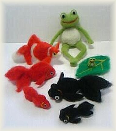 羊毛フェルト☆金魚とカエル