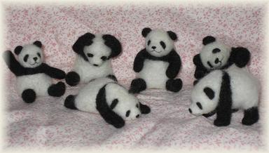 羊毛フェルト☆パンダたち