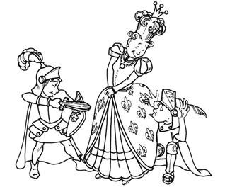 騎士の算術レース:女王と騎士のイラスト