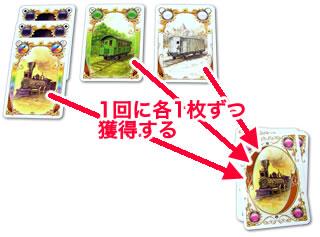 チケットトゥライドカードゲーム:各色1枚を獲得