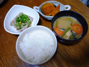 080326 ご飯セットとかぼちゃの煮物