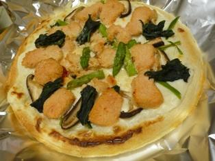 080411 明太子とほうれん草のピザ