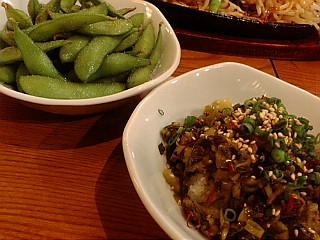 枝豆350博多の辛子高菜の炒め物500