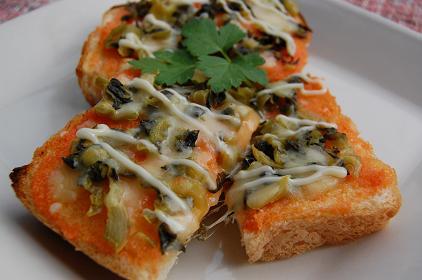 明太子と高菜のチーズトースト