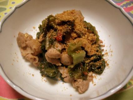 高菜漬けと豚肉の炒め物