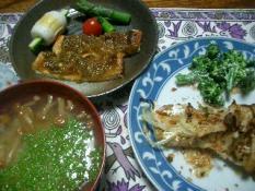 タラのオーブン焼き・うすあげのネギみそ焼き・豆腐となめこの味噌汁