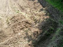 溝を掘る…
