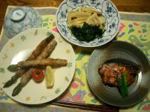 若竹煮・アスパラの豚バラ巻き・鰤のニンニク醤油焼き