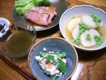 スナップエンドウの白和えと山芋との煮物