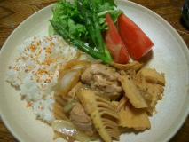 筍と鶏肉の焼肉風炒め物プレート