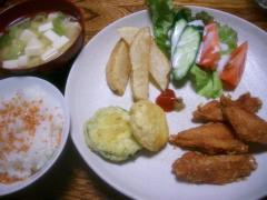 ズッキーニの天ぷらと手羽先のから揚げ定食