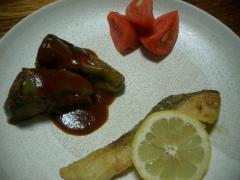 ピーマンの肉詰めケチャップソース