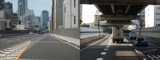 ハイウェイの上高層ビルの間。in大阪