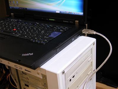 デスクトップPCのDVD±RWドライブに接続