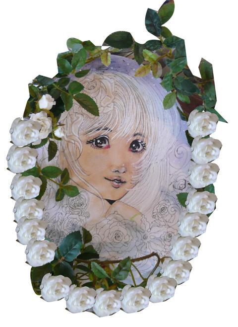 女の子と薔薇