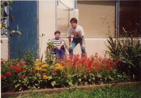 入院してた中伊豆リハビリセンターで同志で車いすの斎藤様さんと記念写真