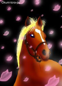 お馬ちゃんと桜の花びら