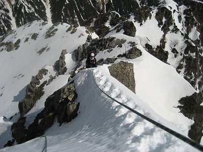 独標2P目の雪稜