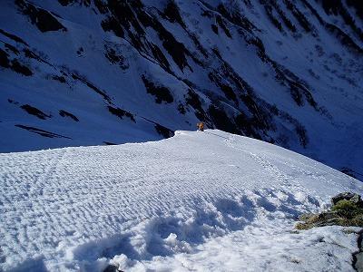 トリコニー手前の雪壁