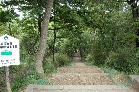 急な下り坂の階段の道が下へと続く・・・