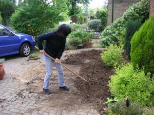 土をまぶしている