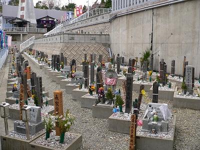写真キャプション=霊園に建立されたペットの墓。この霊園には5000区画が造成されている