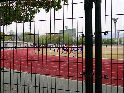 """写真キャプション=西京極総合運動公園内にある補助競技場。1周400m×8コースがあり、若者たちが""""青春の汗""""を流していた"""