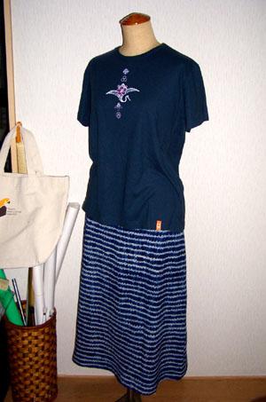 絞り藍染スカート1