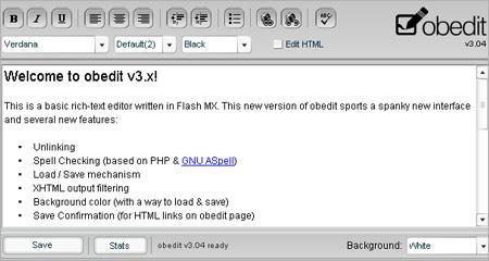 FLASHベースのリッチテキストエディタ