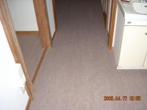 廊下、パンチカーペット張替後